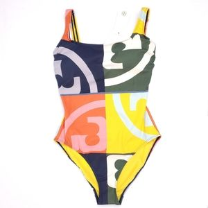 Tory Burch Multicolor Tank Swim Suit Logo